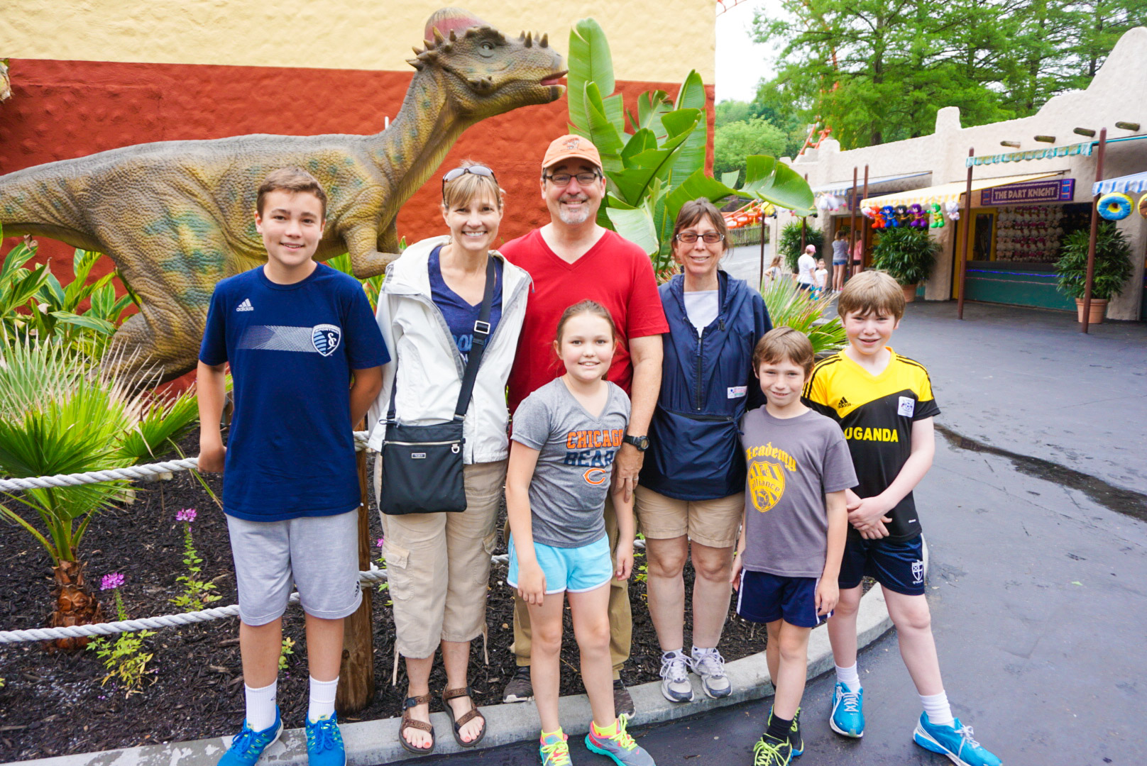 Family gathered at Worlds of Fun amusement park, Kansas City, KS