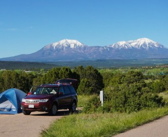 View of Spanish Peaks from Lathrop State Park campsite.
