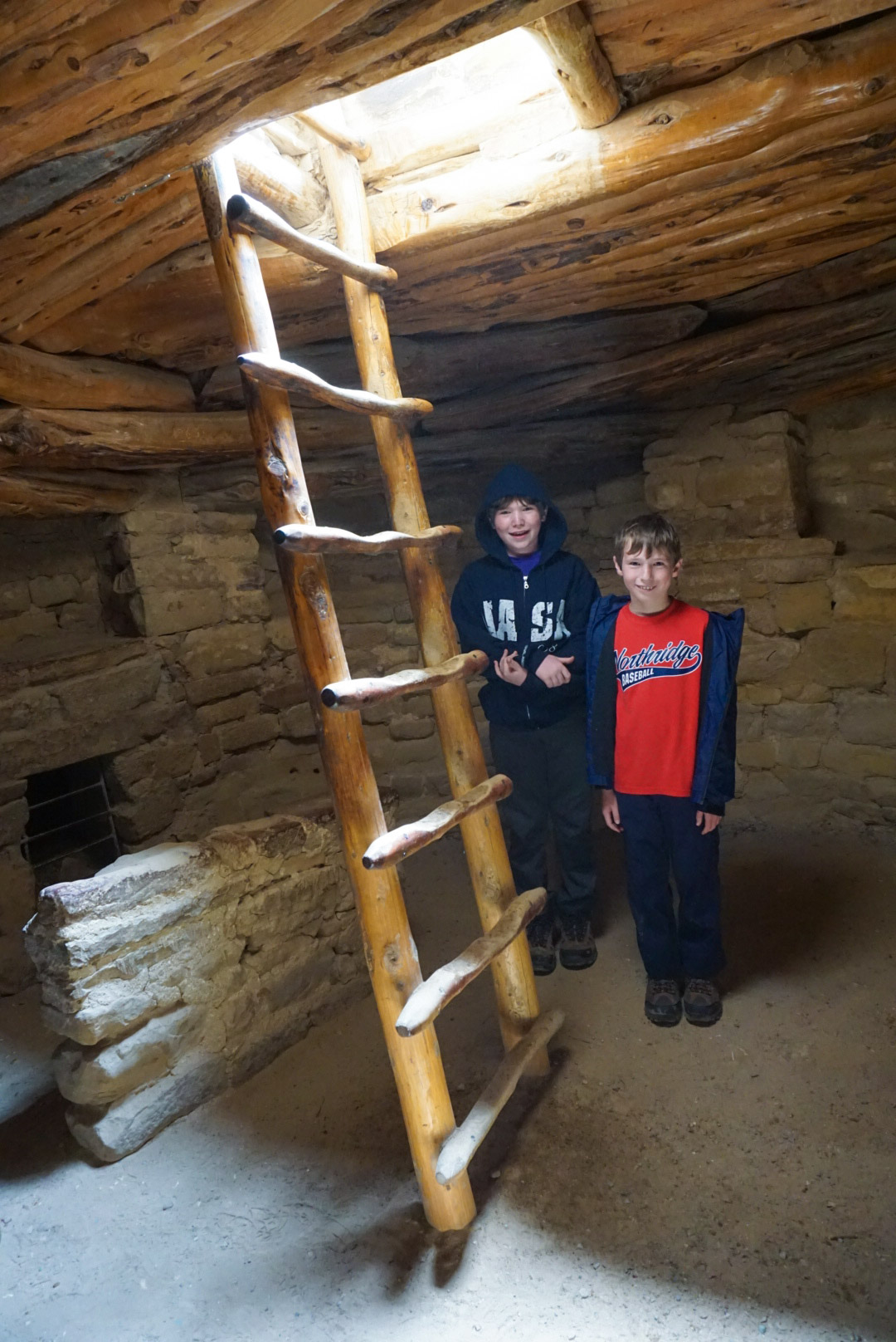 Ryan and Collin inside a Puebloan kiva.