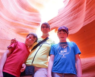 Dawnie abd the boys inside Lower Antelope Canyon