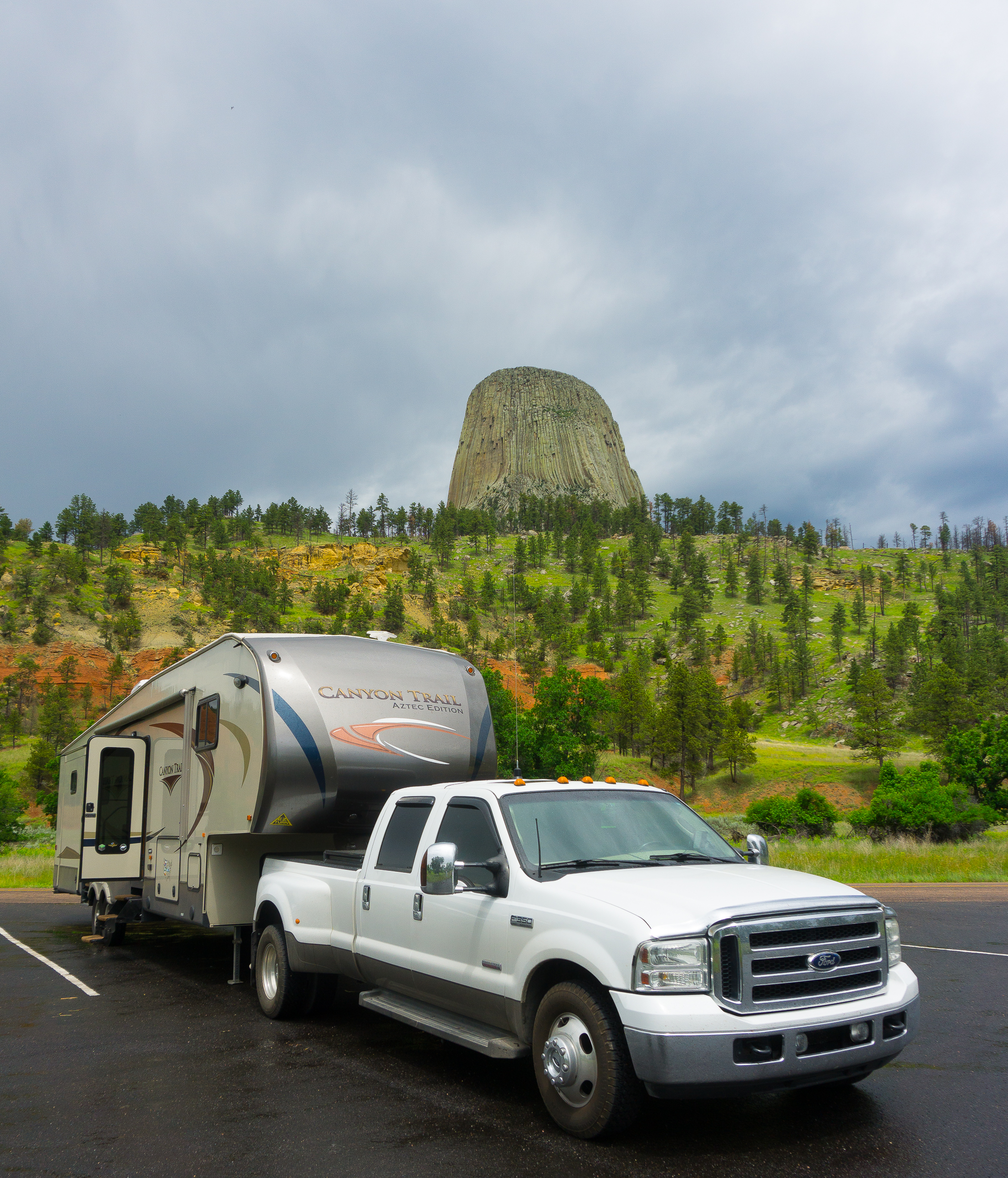 Oversize vehicle parking below the monument at Devils Tower.