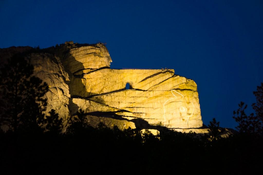Crazy Horse Memorial at night.