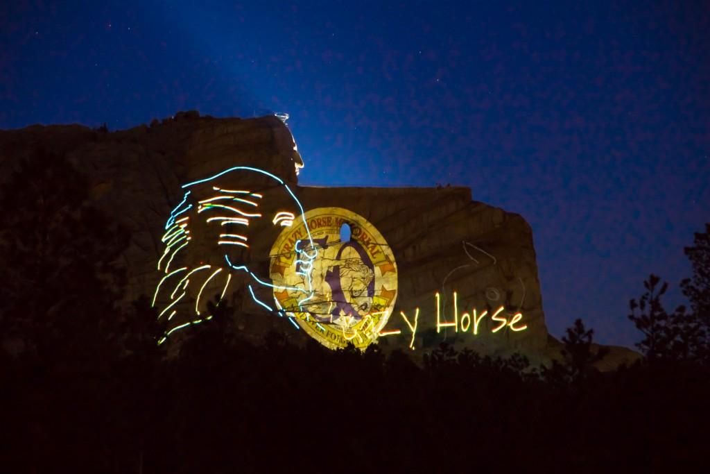 Crazy Horse Memorial laser show.