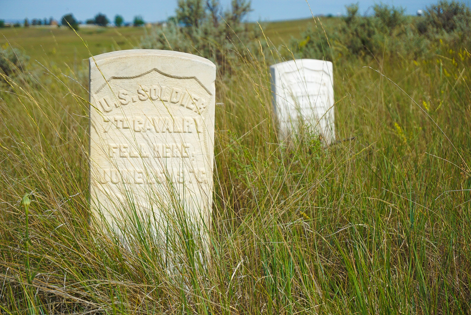 Markers showing where soldiers lost their lives on the battlefield