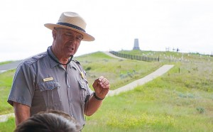Park Ranger giving presentation about the Battle of Little Bighorn