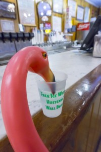 Flo gets her free ice water at Wall Drug
